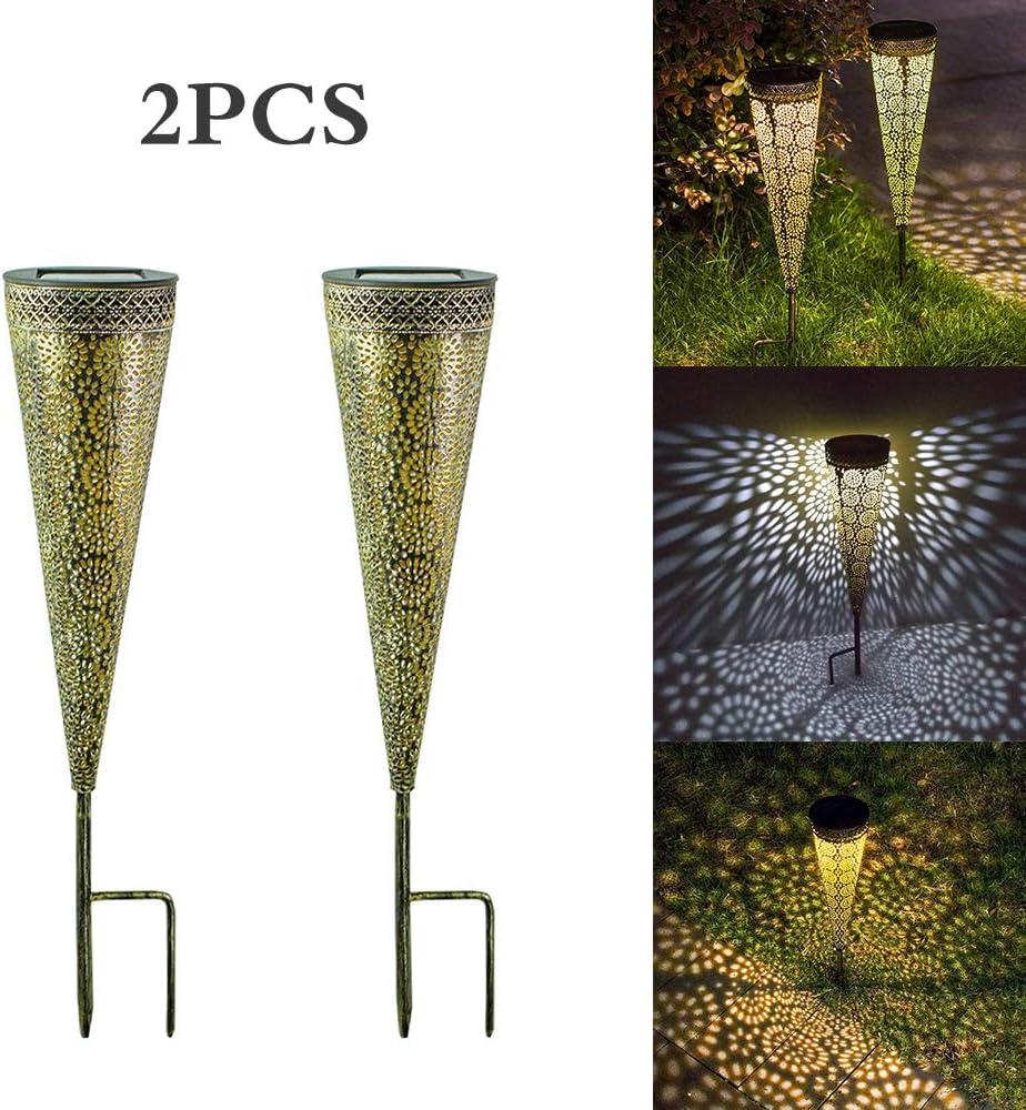 2 piezas de iluminación de decoración de paisajes al aire libre, luces de jardín con luz solar LED, luces de antorcha de seguridad de hierro de cono hueco para camino Patio de camino de jardín