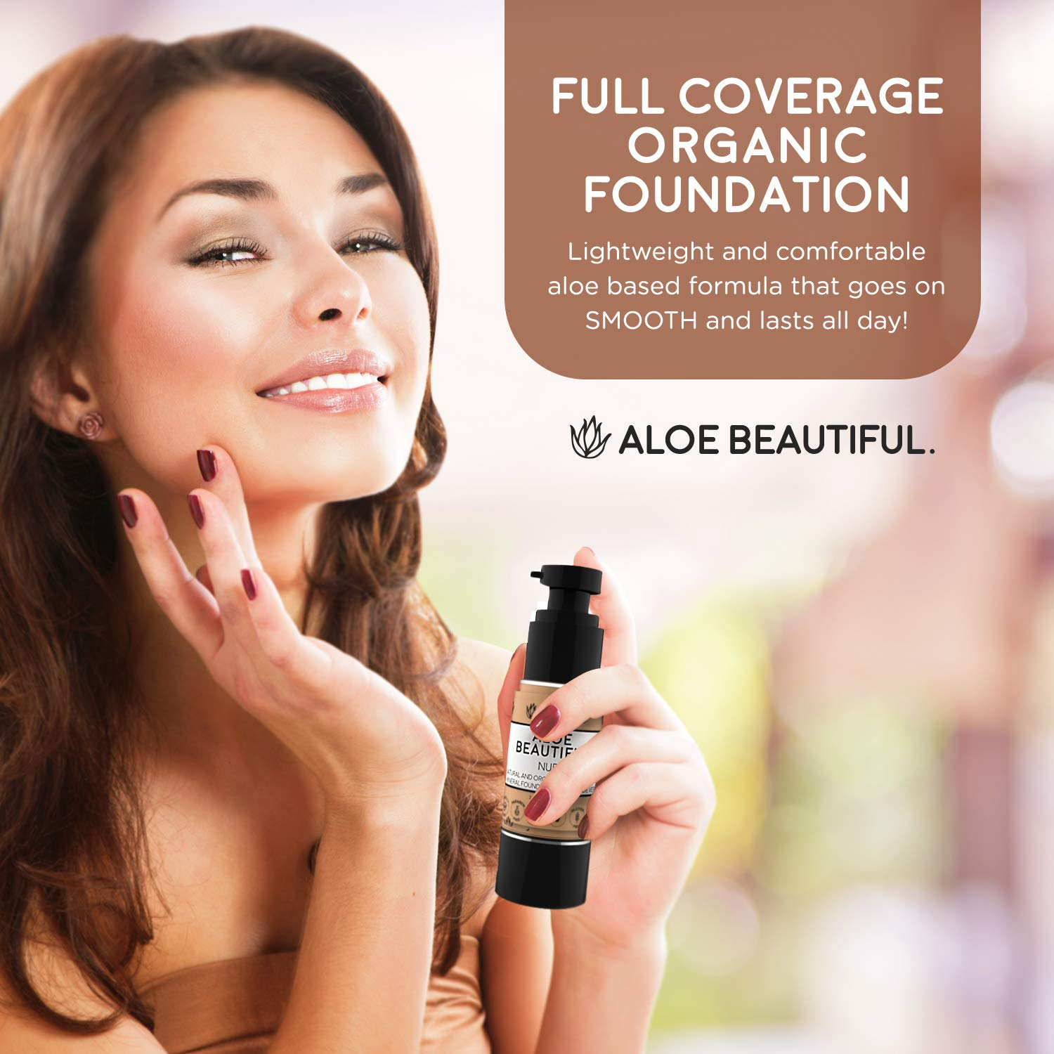 Organic Liquid Mineral Foundation Makeup with Aloe – All Natural Vegan Gluten Free Ingredients – Made In USA, Bamboo