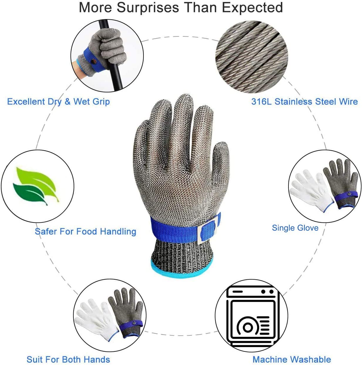 Schwer Level 9 Cut Resistant Glove Stainless Steel Mesh Metal Wire Glove Durable Rustproof Reliable Cutting Glove Latest Material - -