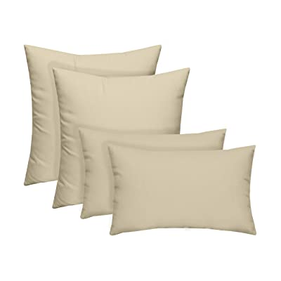 "Resort Spa Home Set of 4 Indoor/Outdoor Pillows - 17"" Square Throw Pillows & 12"" x 20"" Rectangle/Lumbar Decorative Throw Pillows - Solid Ivory Fabric: Kitchen & Dining"