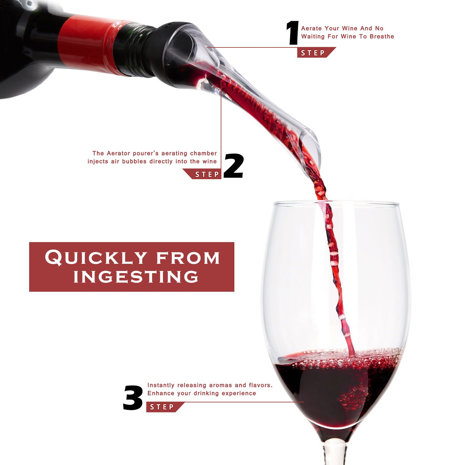 Wine Aerator Pourer,  Premium Aerating Pourer and Decanter Spout, Breather Excellent for Whiskey by MOSPRO (Image #2)