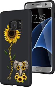 Galaxy S7 Edge Case,Sunflower and Cute Elephant Slim Anti-Scratch Shockproof Leather Grain Soft TPU Back Protective Cover Case for Samsung Galaxy S7 Edge (2016)
