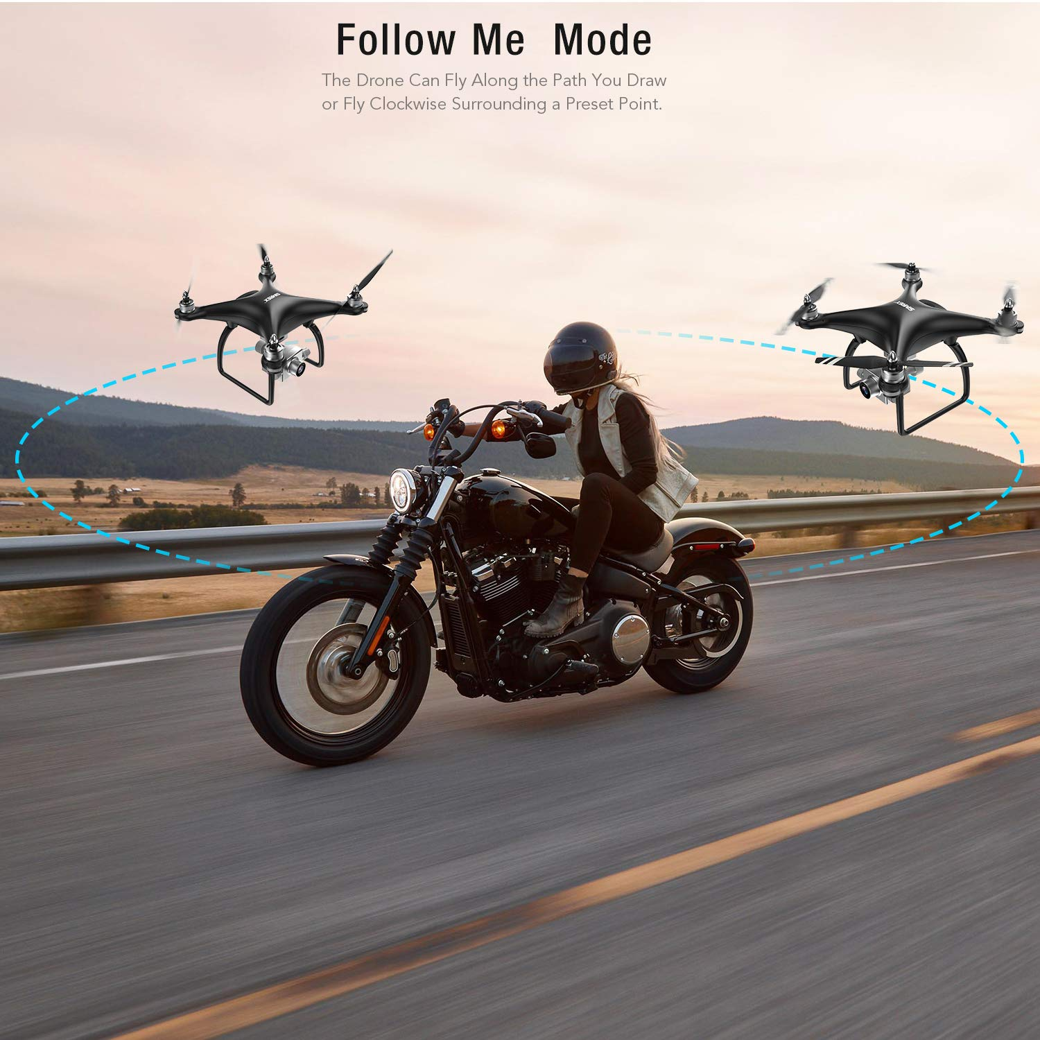 SIMREX X11 Upgraded GPS Drone with 1080P HD Camera 2-Axis Self stabilizing Gimbal 5G WiFi FPV Video RC Quadcopter Auto Return Home with Follow Me Altitude Hold Headless Brushless Motor Remote Control