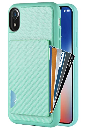 save off 6a804 7e765 iPhone XR Wallet Case, iPhone XR Card Holder Case, ZVEdeng Shockproof  Credit Card Case with Carbon Fiber Card Clip Protective Slim Card Grip Case  ...