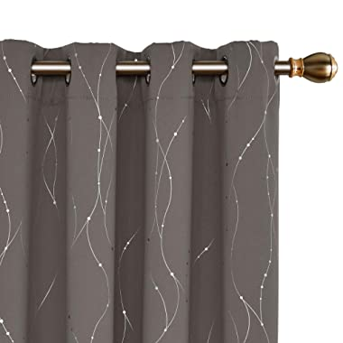 Deconovo Blackout Curtains Wave Line with Dots Foil Print Design Curtains Window Curtains with Grommet for Living Room 52 x 63 Inch Taupe 2 Panels