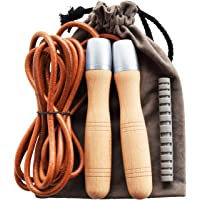 Ahomie Leather Jump Rope, Adjustable Skipping Jumping Ropes, with 360-Degree Bearing and Pure Wood Handles, for Gym…