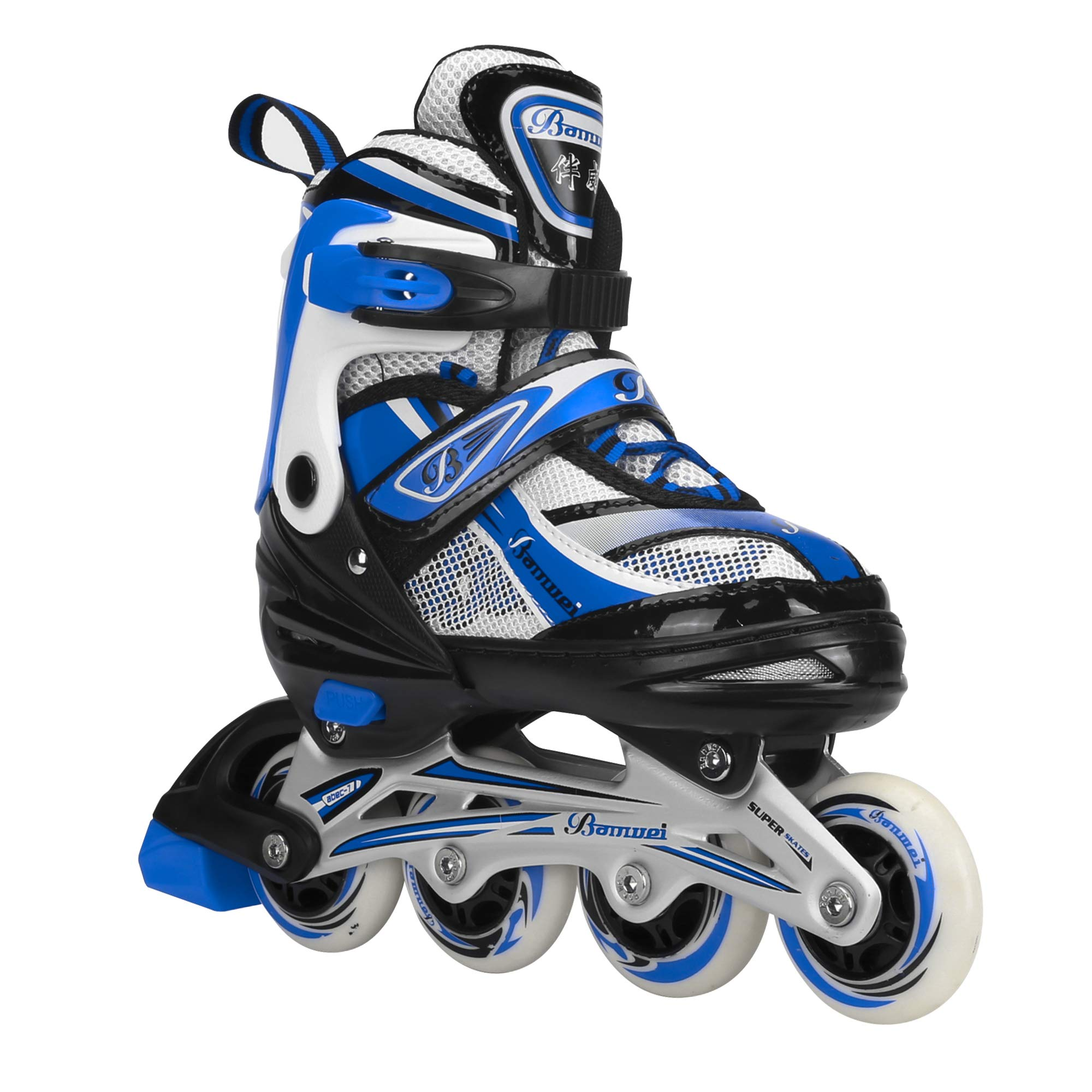 Banwei Adjustable Medium Blue Inline Skates for Girls and Boys Size 13.5J to 6 Illuminating Front Wheel Safe Durable Roller Skates Outdoor Indoor Use