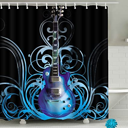 Amazon Guitar Art Bathroom Shower Curtain Sets Waterproof Decor