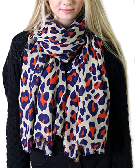 9bd84cc00d9fb Anika Dali Women's Lucia Leopard Animal Print Scarf, Navy Blue & Orange  Spots on Tan