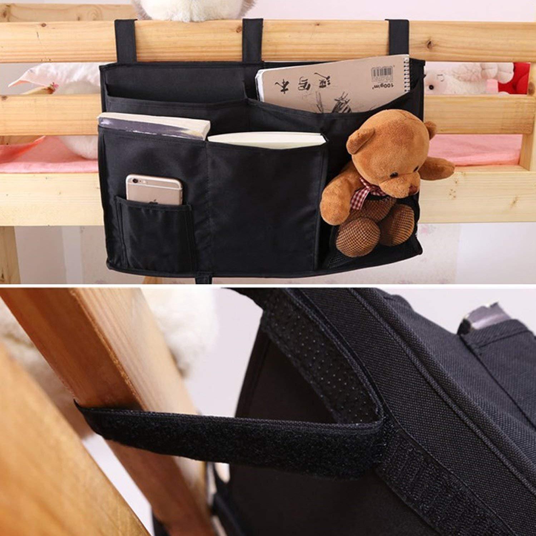 printemps Bedside Caddy, Dorm Room Storage Hanging Storage Bag Holder Bag with 8 Pockets for Bunk Beds, Hospital Beds, Dorm Rooms Bed Rail (Black)