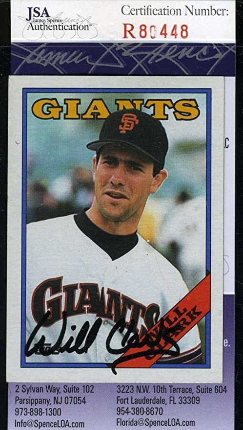 Will Clark 1988 Topps Giants Coa Hand Signed Giants Authentic