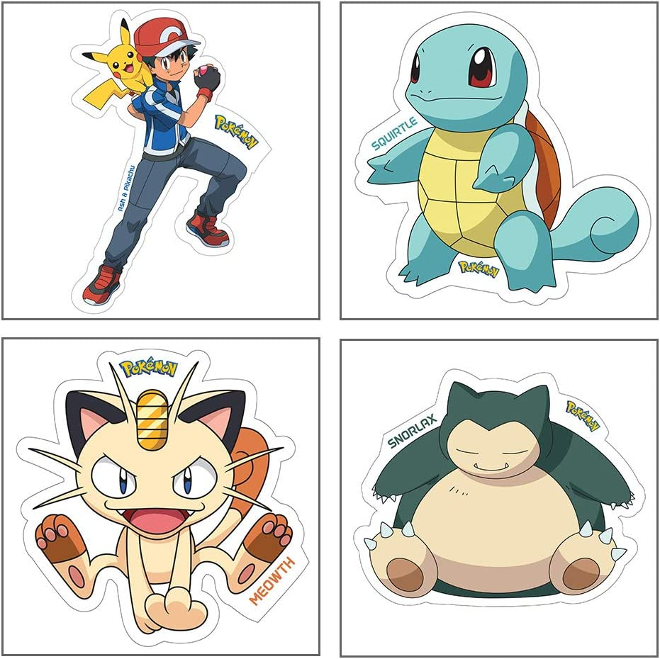 Amazon Com Pokemon Myesha Toys Small Size Sticker Pack Of 4 Sticker Sheet Of Comic And Cartoon Characters Ash Pikachu Squirtle Meowth And Snorlax Toys Games