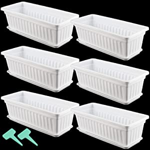 HAKZEON 6 Pack 17 Inches Plastic Flower Box Planters with Trays, Countryside Flower Window Boxes with 30 Plant Labels, White Rectangular Vegetable Planters for Windowsill, Porch, Balcony, Garden