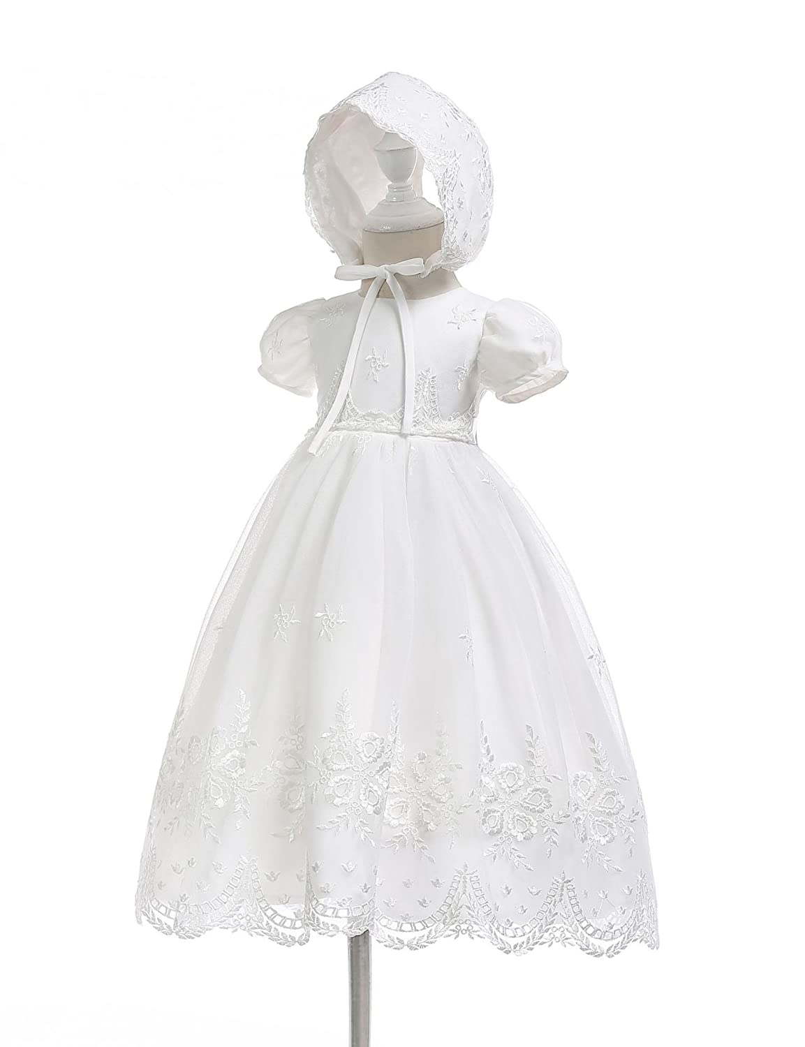 Aorme Infant Toddler Girl Christening Gown Lovely Lace Baptism Dress with Bonnet