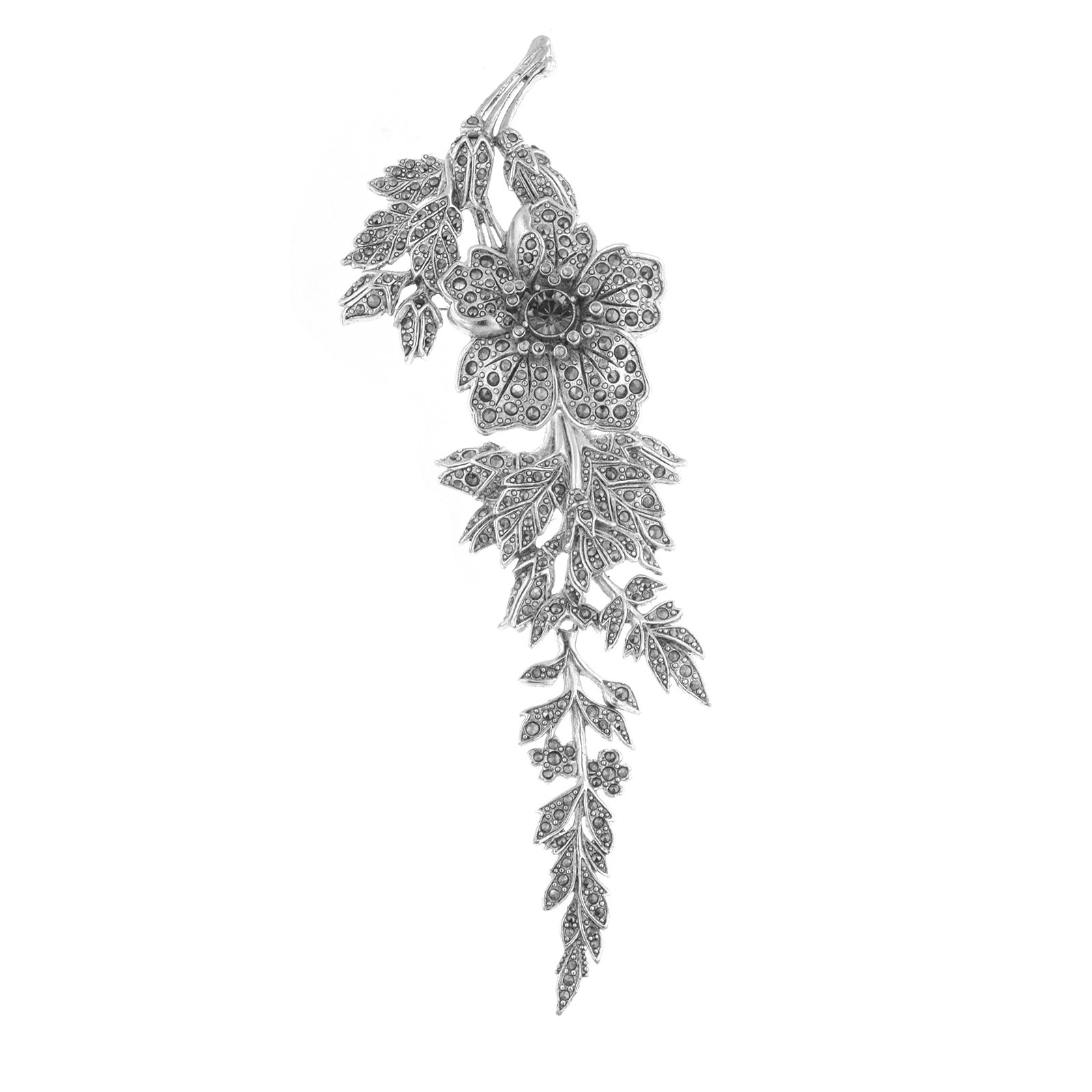 Antiquities Couture Vintage Couture Marcasite Hued Flower Brooch