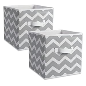 "DII CAMZ38454 Foldable Fabric Storage Containers (Set of 2), Large - 13 x 13 x 13"", Chevron Gray"