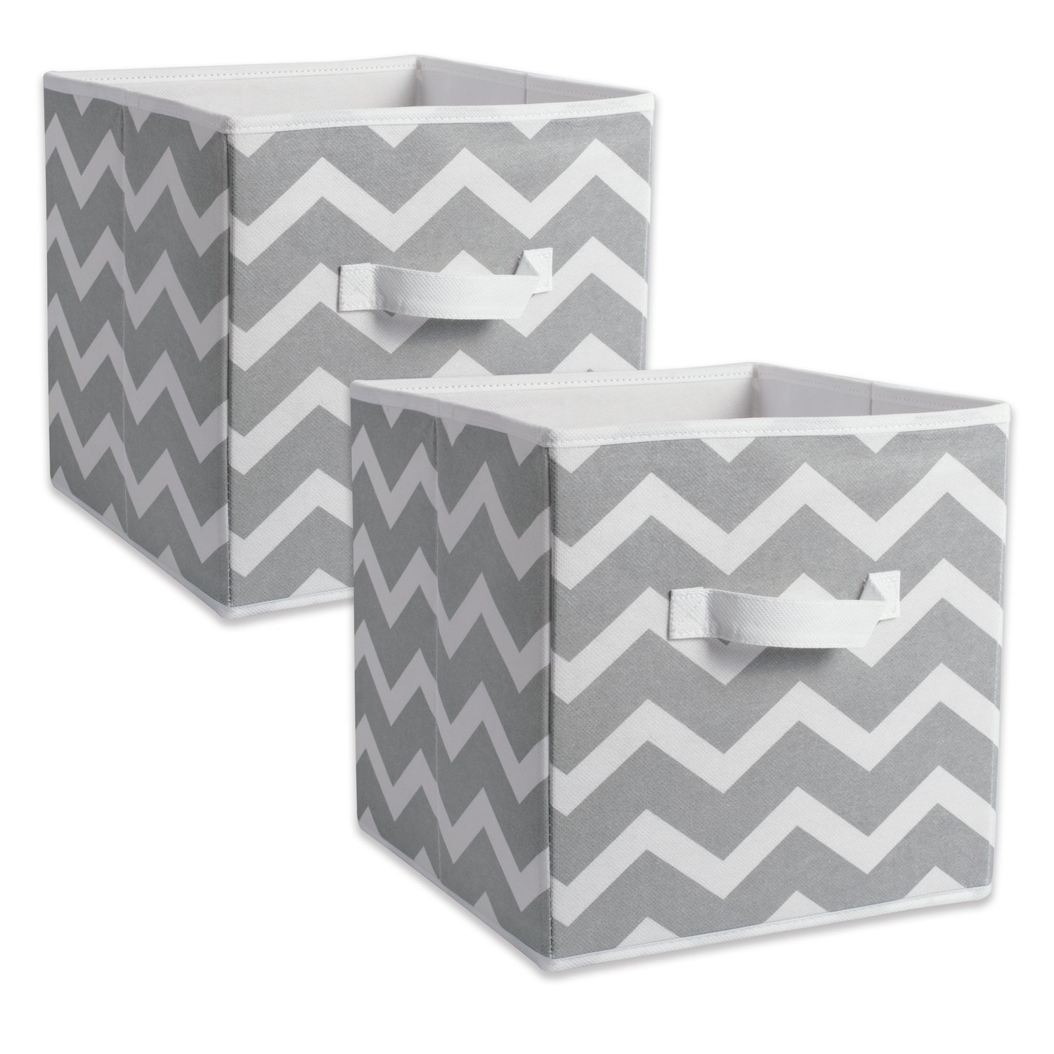 DII Fabric Storage Bins for Nursery, Offices, & Home Organization, Containers Are Made To Fit Standard Cube Organizers (13x13x13'') Chevron Grey - Set of 2