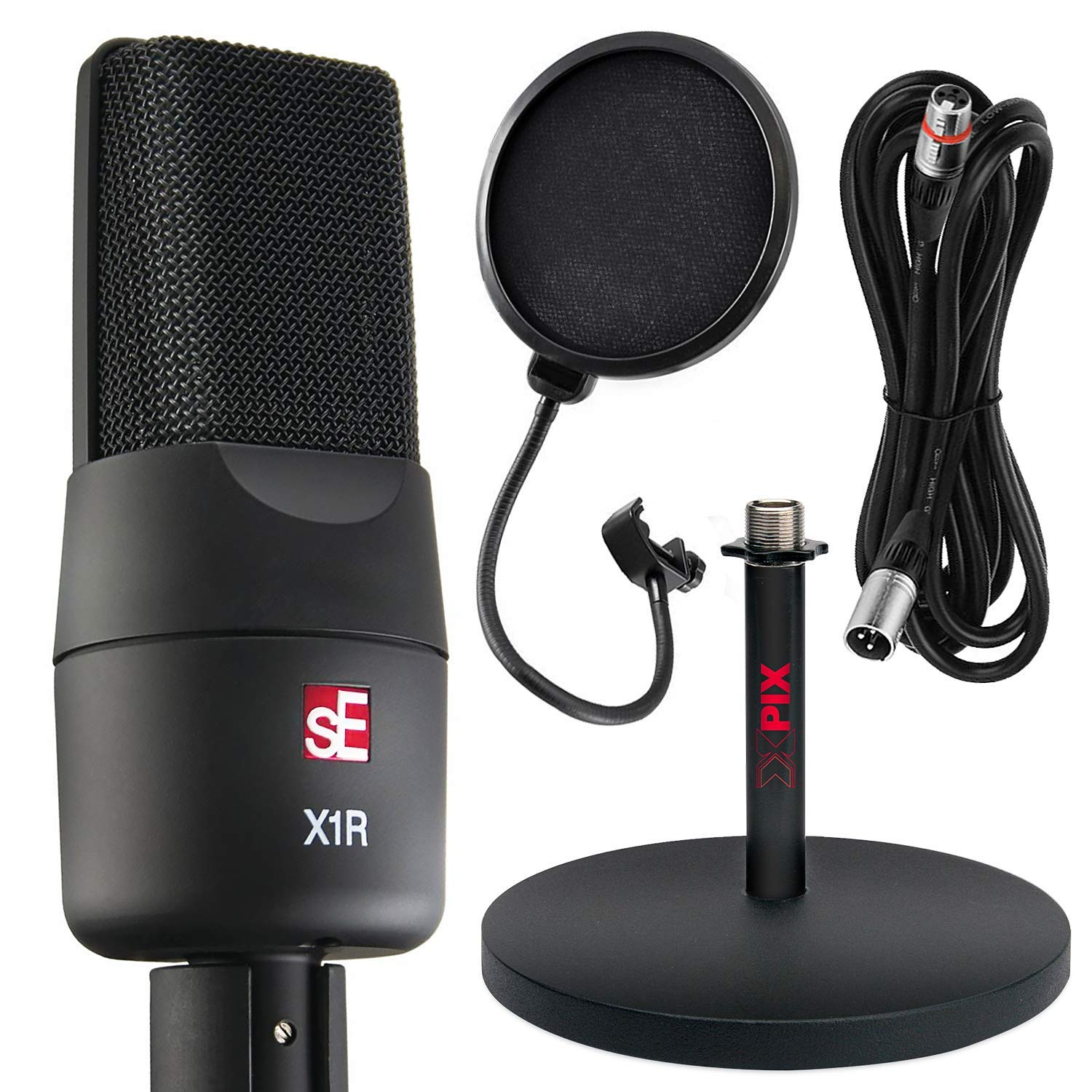 sE Electronics sE X1R Ribbon Microphone with Xpix Mic Stand & Accessory Bundle