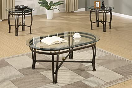 Amazon Com 3 Piece Luxury Glass Coffee Table End Tables Set