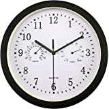 Foxtop Large Indoor Outdoor Wall Clock Universal Quartz Non-Ticking & Silent 10-Inch Clocks with Temperature and Humidity Glass Cover (Black)