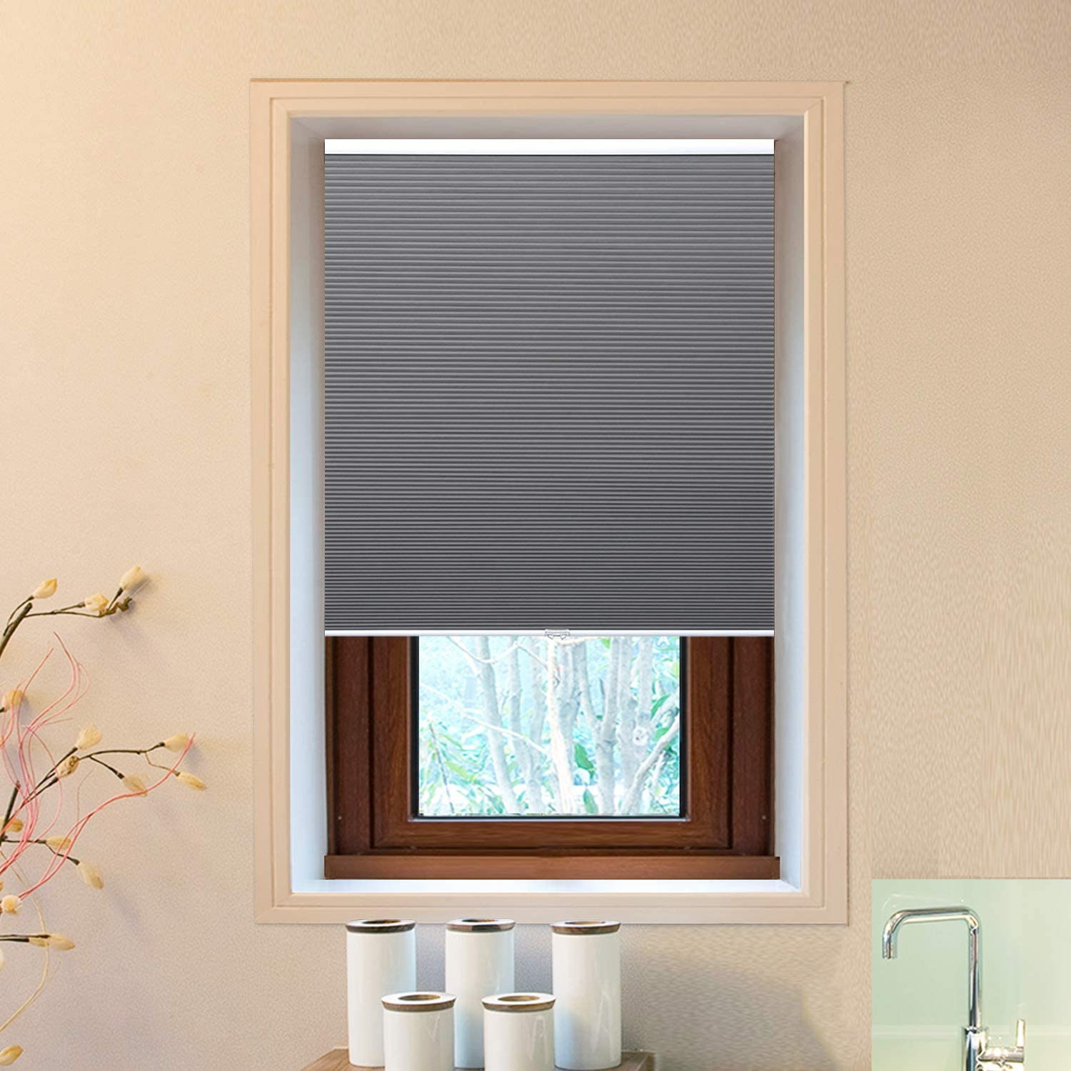 "Allesin Blackout Cordless Window Shades Cellular Honeycomb Shades Grey 29"" W x 64"" H Room Darkening Pleated Blinds for Windows"