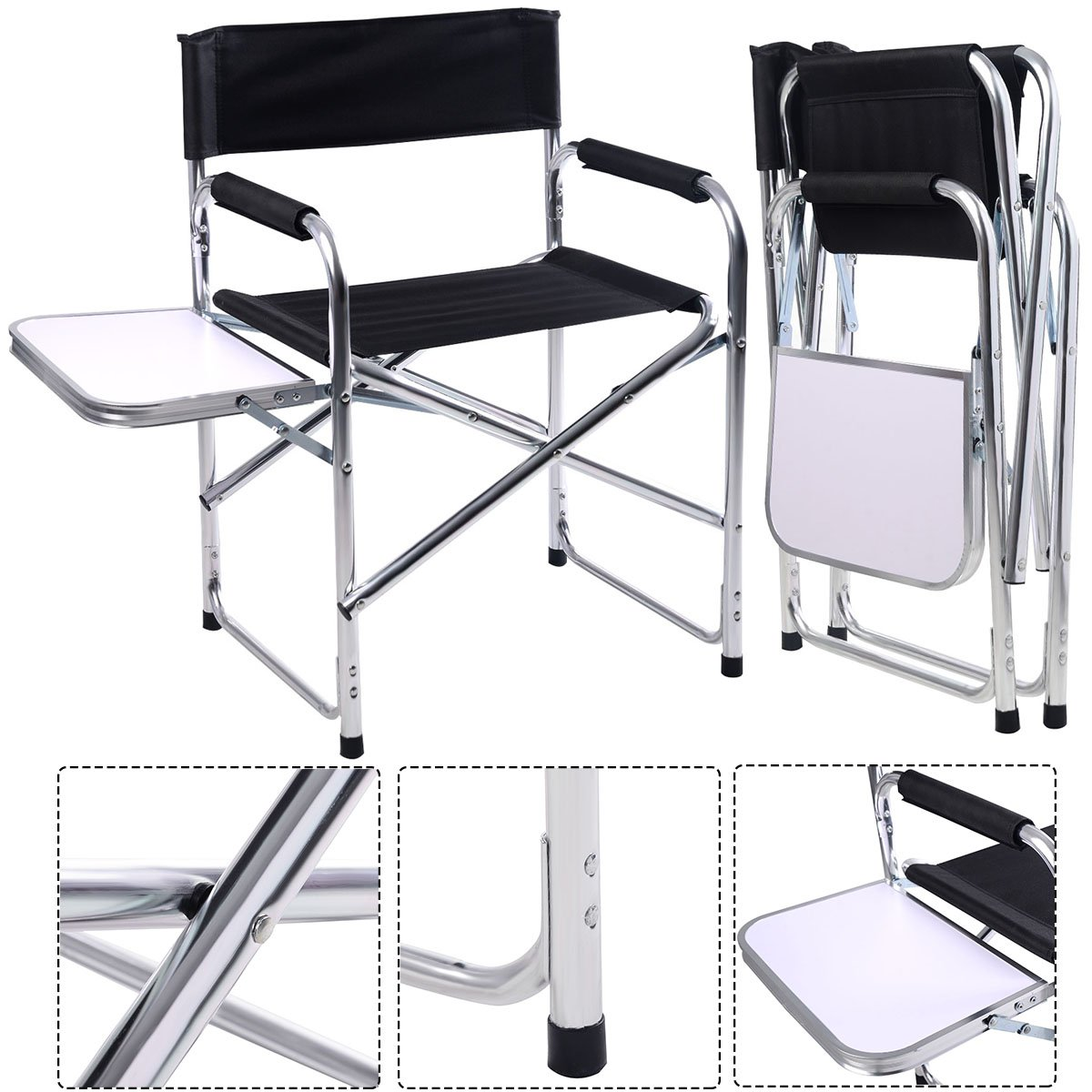 CASART Foldable Aluminum Directors Chair Camping Fishing Garden Chairs w/Table + Arm Rest