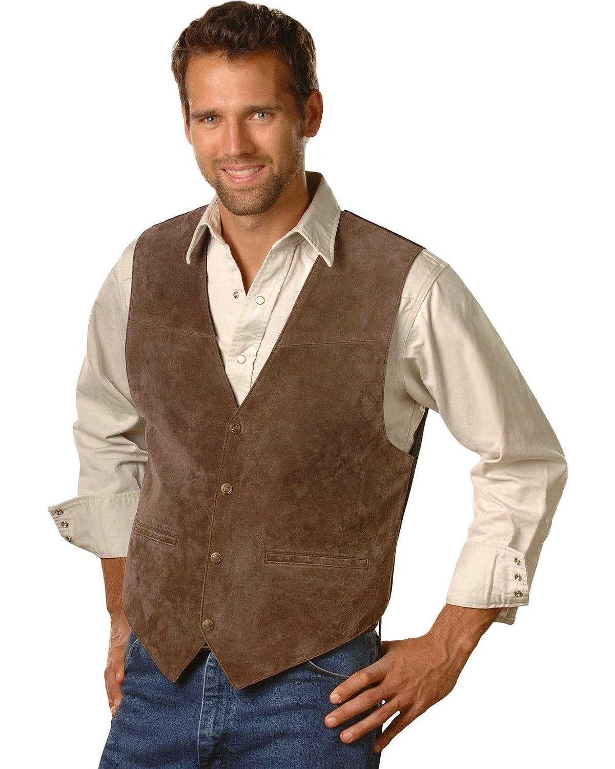 Scully Men's Suede Leather Vest Espresso XX-Large by Scully