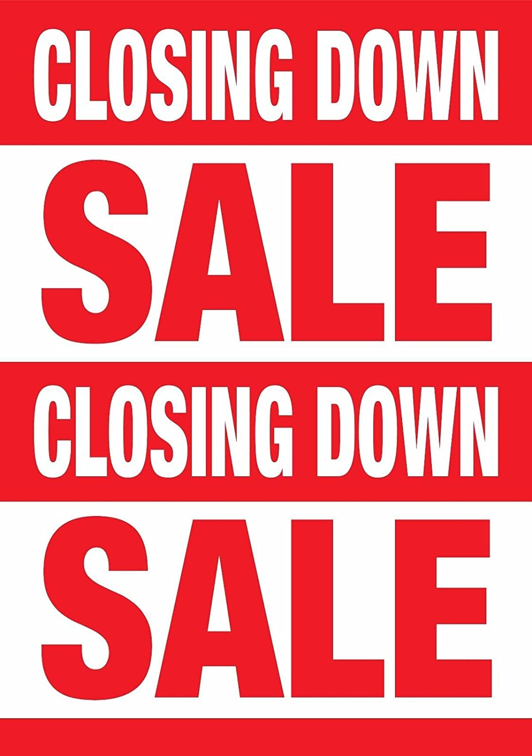 Printed Closing Down Sale Posters Window Sign Size A1