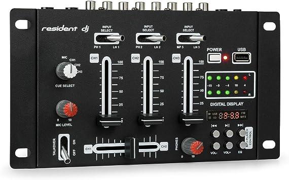 Resident DJ DJ-21 - DJ-Mixer, Mesa de Mezclas, 3/2 Canales ...