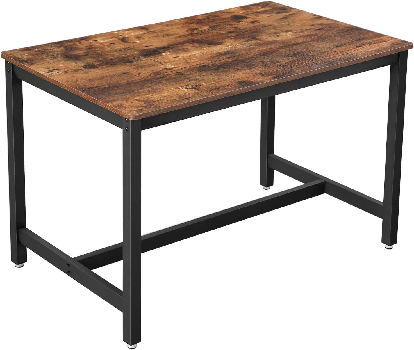Vasagle Dining Table For 4 People Kitchen Table 120 X 75 X 75 Cm Heavy Duty Metal Frame Industrial Style For Living Room Dining Room Rustic Brown And Black Kdt75x Amazon Co Uk Kitchen