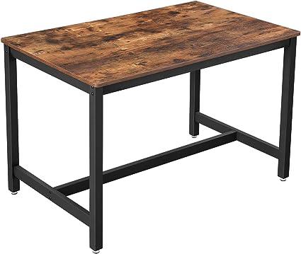 vasagle table de salle a manger pour 4 personnes table a diner table de cuisine 120 x 75 x 75 cm cadre metallique robuste style industriel pour