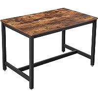VASAGLE eettafel voor 4 personen, keukentafel, eettafel, 120 x 75 x 75 cm, salontafel, woonkamer, eetkamer, ijzeren frame, eenvoudige constructie, industrieel ontwerp, vintage, donkerbruin KDT75X