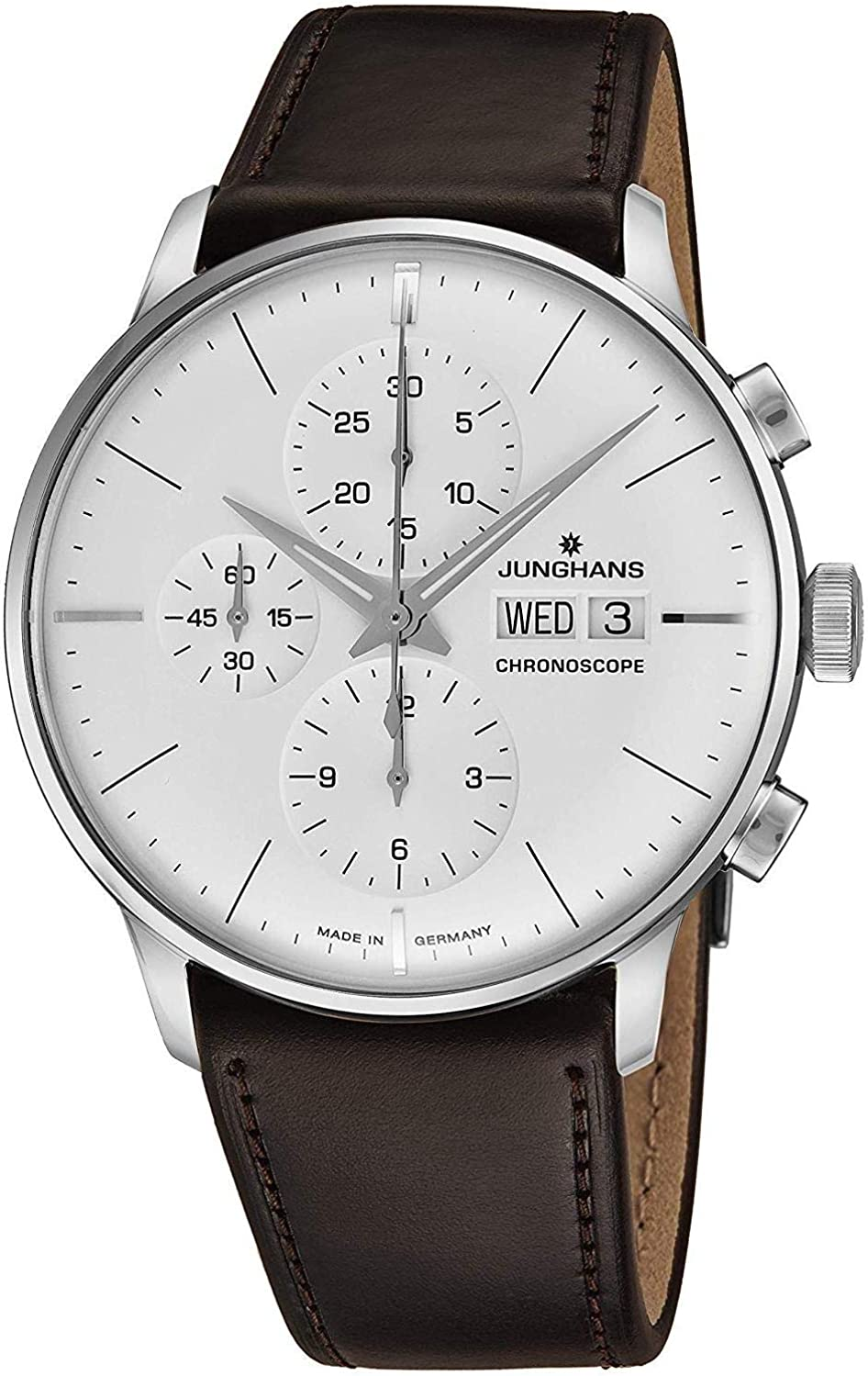 Junghans Meister Chronoscope Mens Day Date Automatic Chronograph Watch – 40mm Analog Silver Face with Luminous Hands – Stainless Steel Burgundy Leather Band Luxury Watch Made in Germany 027 4120.01