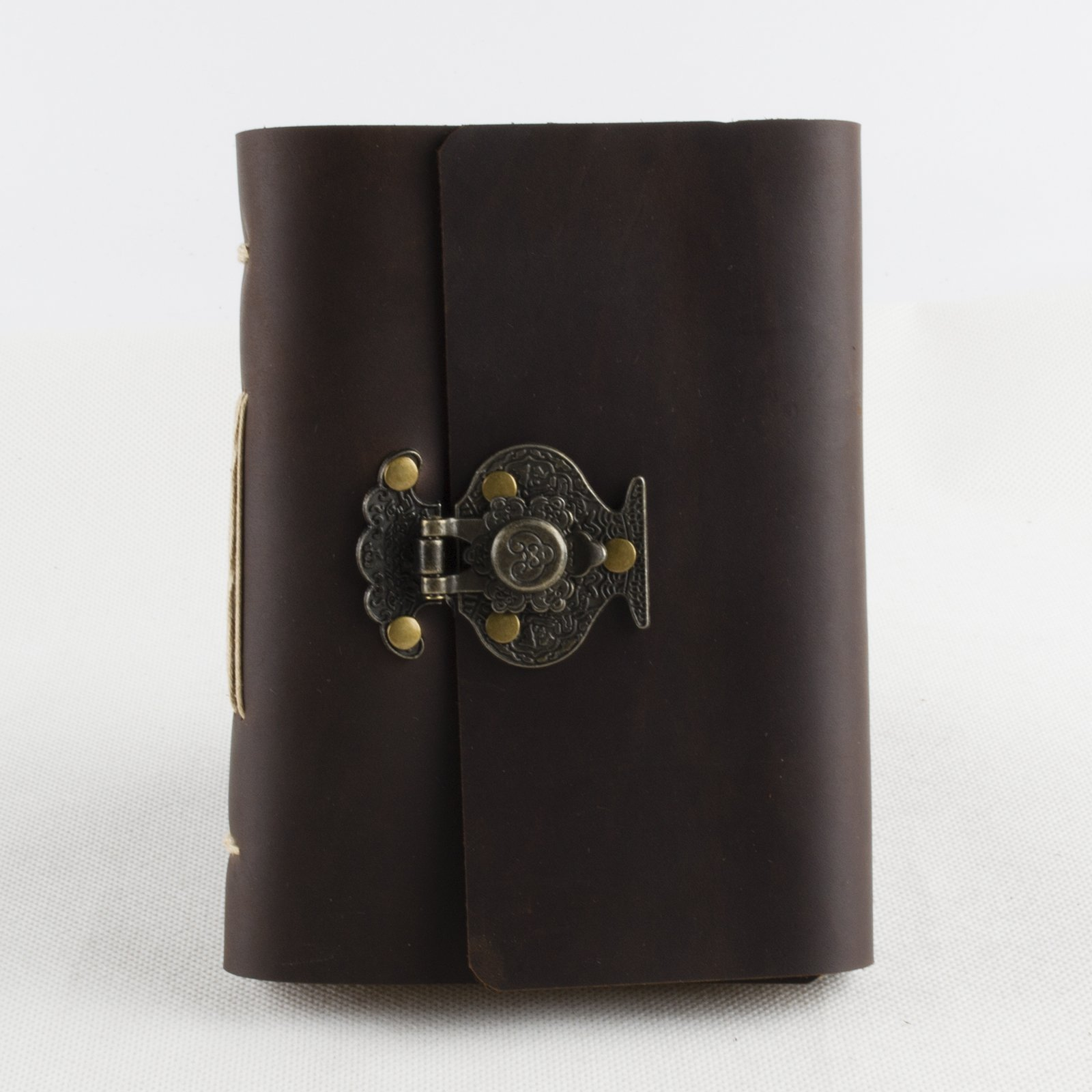 Ancicraft Leather Journal Diary Notebook A6 With Flower Vase Lock by Handmade Lined Craft Paper with Gift Box (A6-Flower vase-Lined craft paper)
