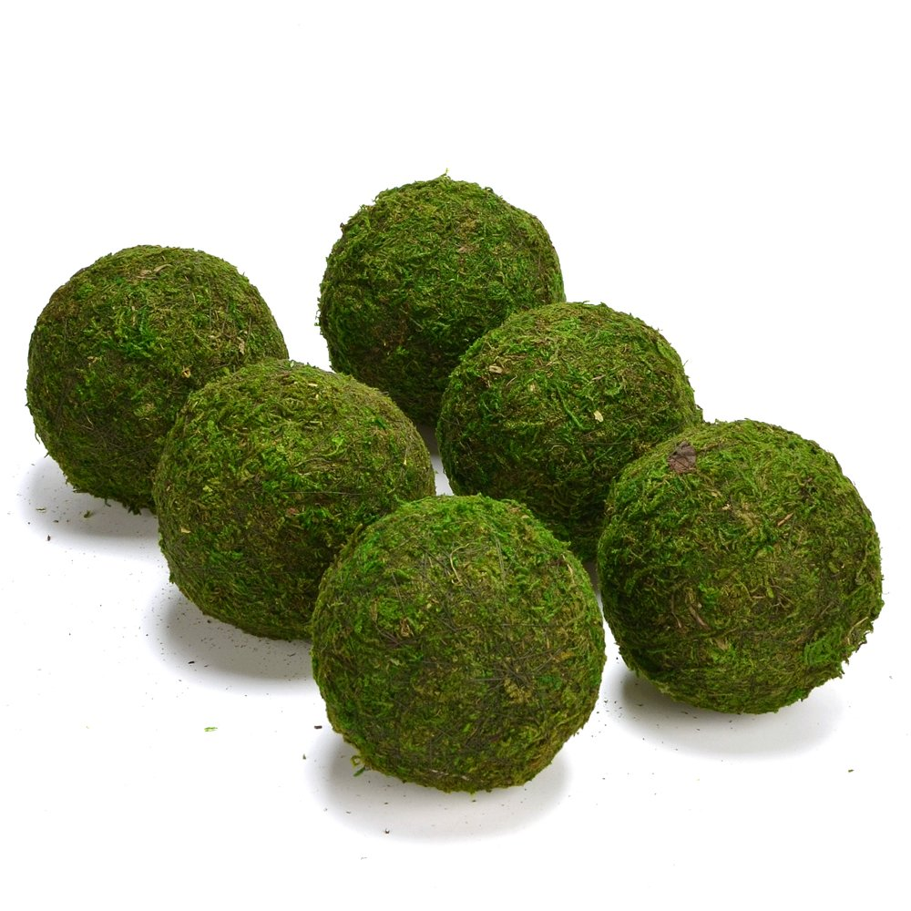 ByYou 6 Pack Eco-friendly Handmade Green Moss Balls Decor,Full Size (3.5'')