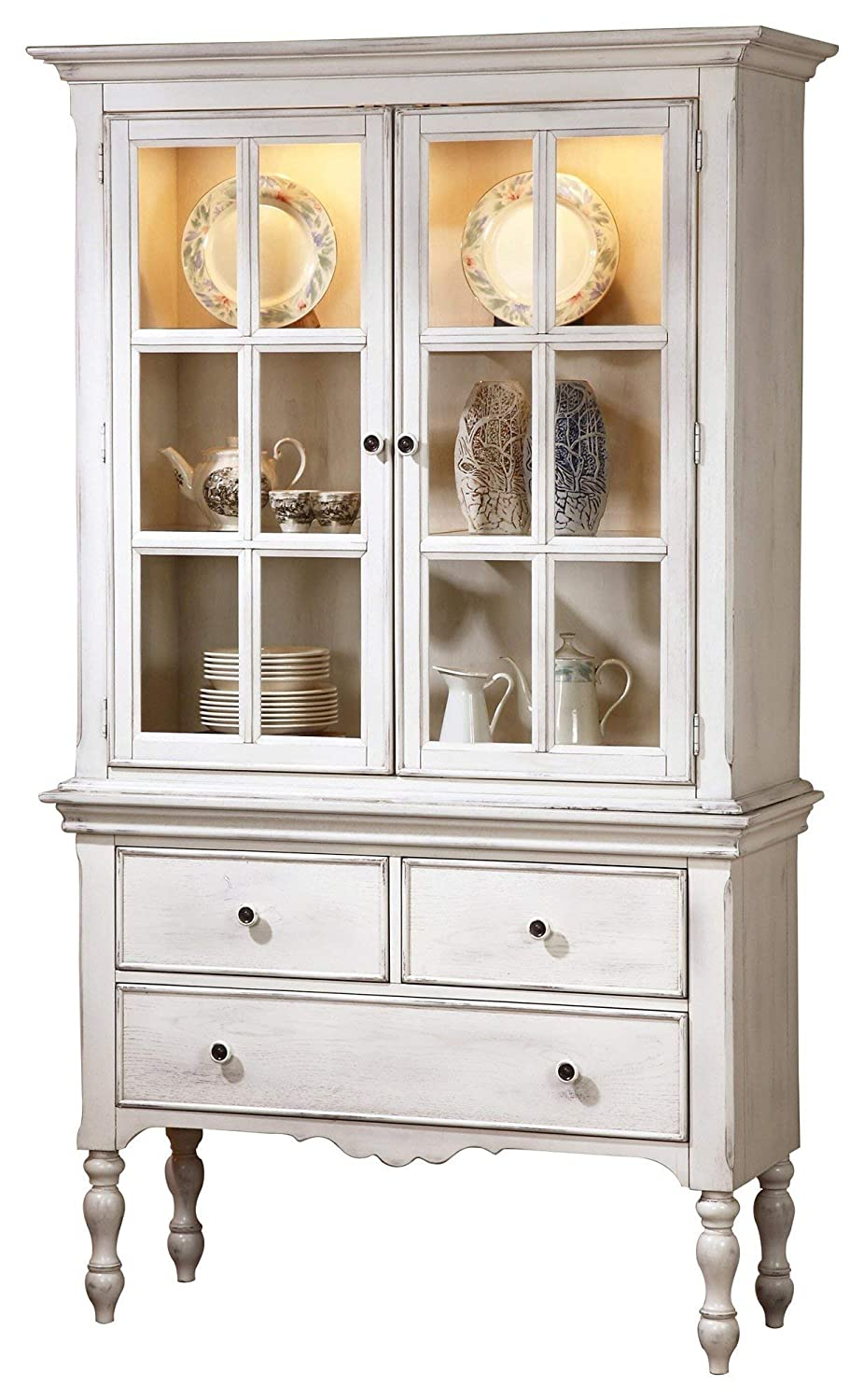 Fabulous Haggens Rusticated Country Buffet Hutch In White Amazon Interior Design Ideas Clesiryabchikinfo