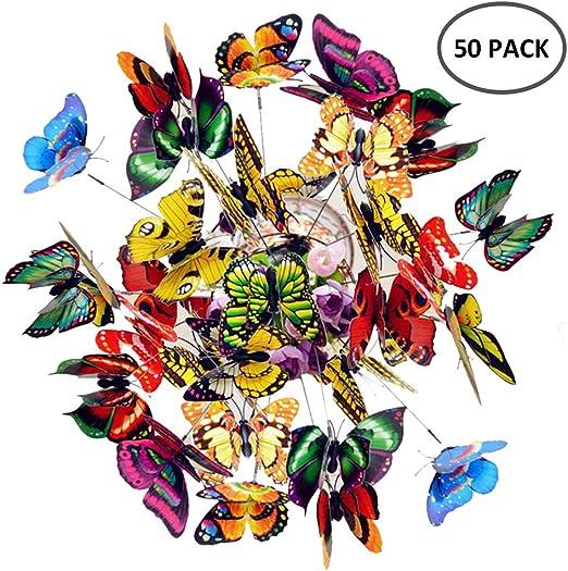 Juego de 50 mariposas coloridas para jardín, decoración de jardín o patio con mariposas en palos para fiestas al aire libre, patio, jardín, decoración de plantas ...