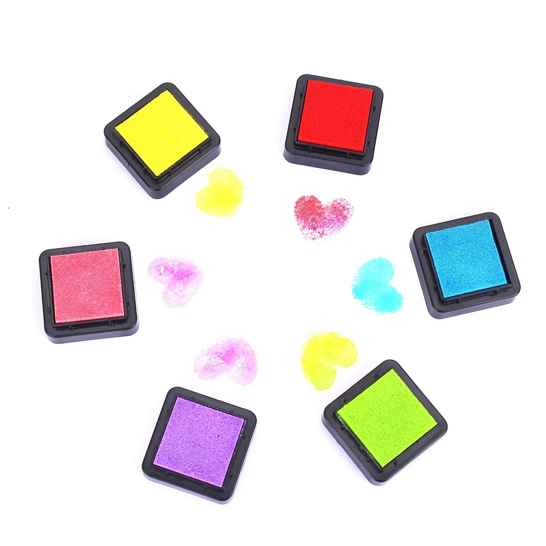 6 Farben 6 Farben Stempelkissen Set Stempel Tinte Inkpad Stamp Pad ink f/ür Papier Handwerk Stoff Malerei Fingerabdruck,Scrapbook