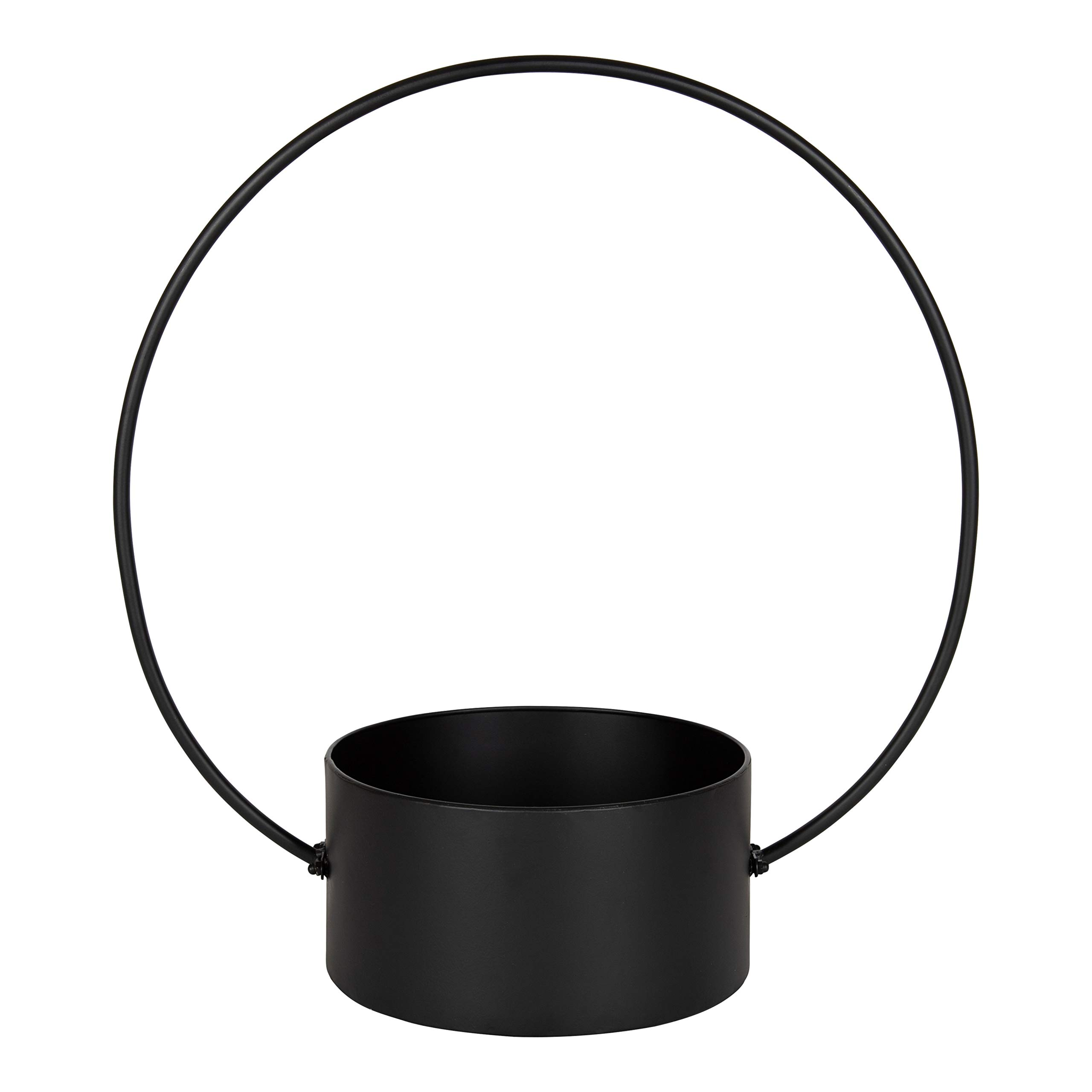 Kate and Laurel Rowbie Circular Black Metal Plant Holder for a Decorative, Minimilist, Modern Display of Indoor Plants