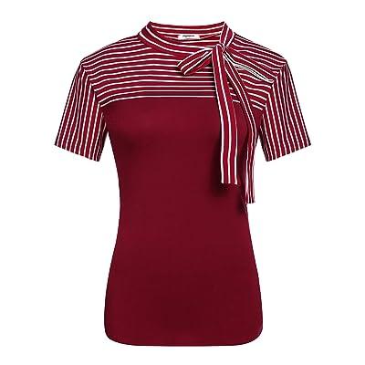 Women Shirts Short Sleeve Bow Blouse Summer Business Formal Vest Tops Plus Size