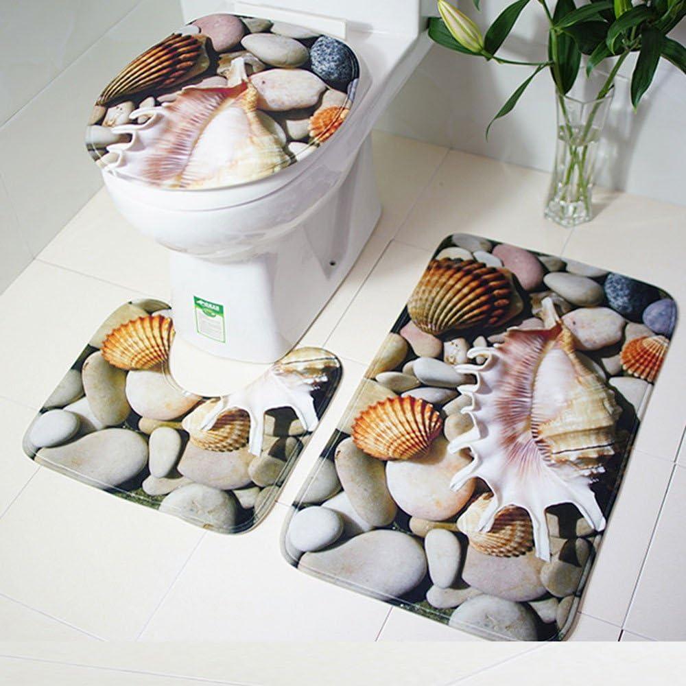A 3PCS Non-Slip Bath Mat Set Fishing Net Decorative Bathroom Mat Set Non-Slip Bathroom Rugs /& Bath Mat /& Toilet Lid Cover Set