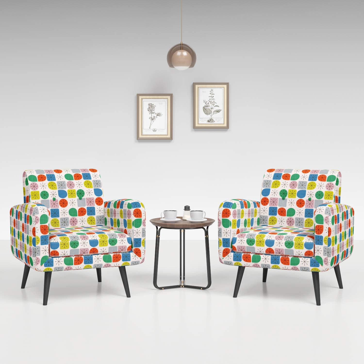 JustRoomy Mid Century Accent Chair Set of 2 Modern Tufted Fabric Arm Chair Deep Seating Comfy Bedroom Living Room Armchair Reading Chair with Solid Wood Leg Removable Seat Cushion, Colorful Dots