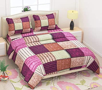 9f9c099aa6 Buy Pure Cotton Casement Bedsheet, Beautiful Abstract Print & Colors, with 2  Pillow Covers Online at Low Prices in India - Amazon.in