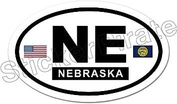 * Oval Car Magnet NE Nebraska Flags Magnetic Bumper Sticker