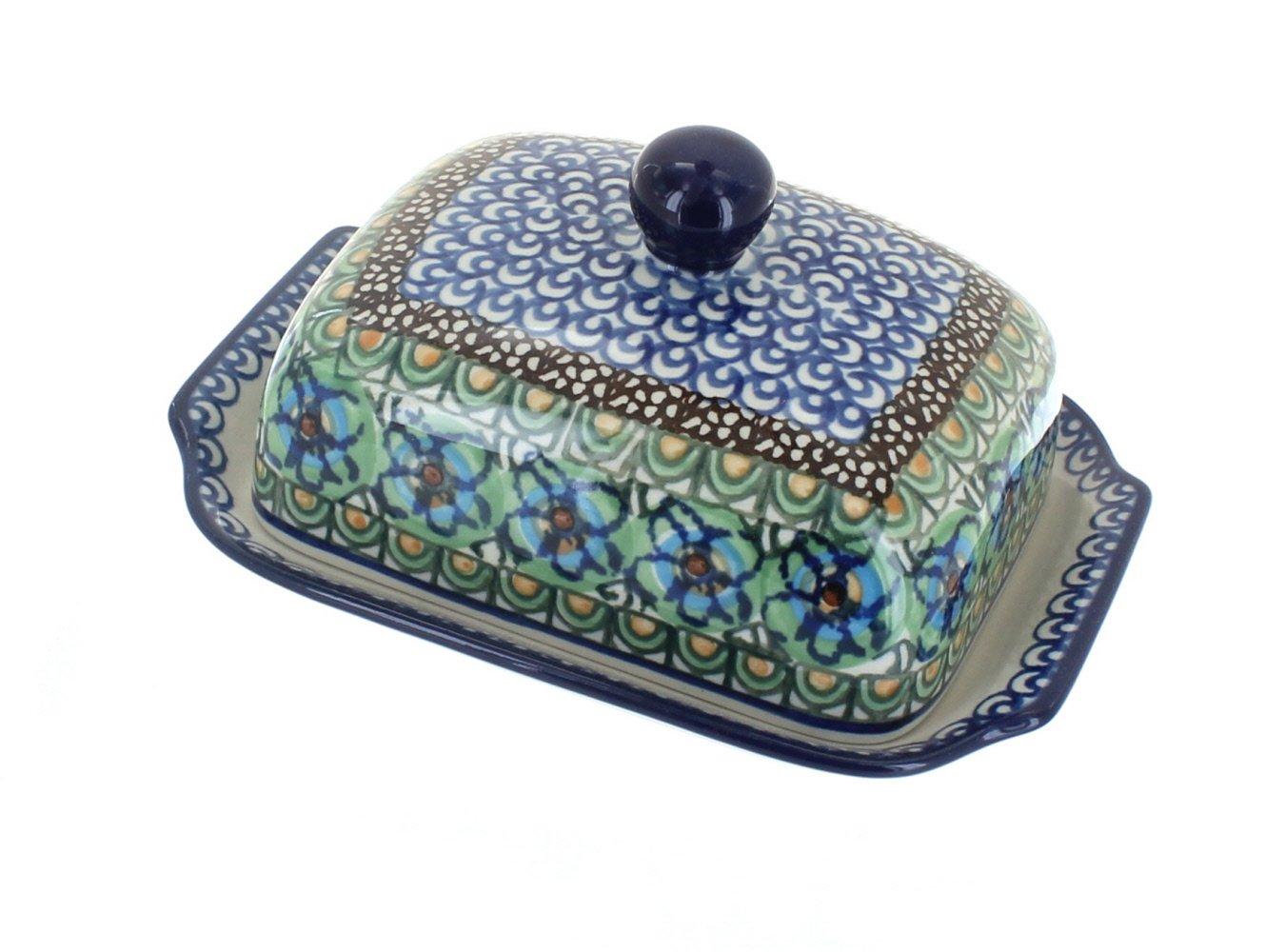 Polish Pottery Mardi Gras Butter Dish