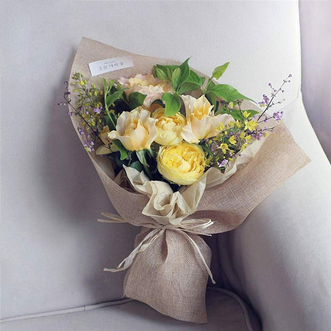 Lawei 5 Pack x 50g Natural Raffia Bundles for Florist Crafts Decoration Weaving Garden Totally 250g
