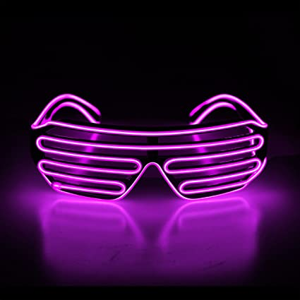 e7713f33c6f Amazon.com  Aquat Light Up Shutter LED Neon Rave Glasses El Wire DJ ...