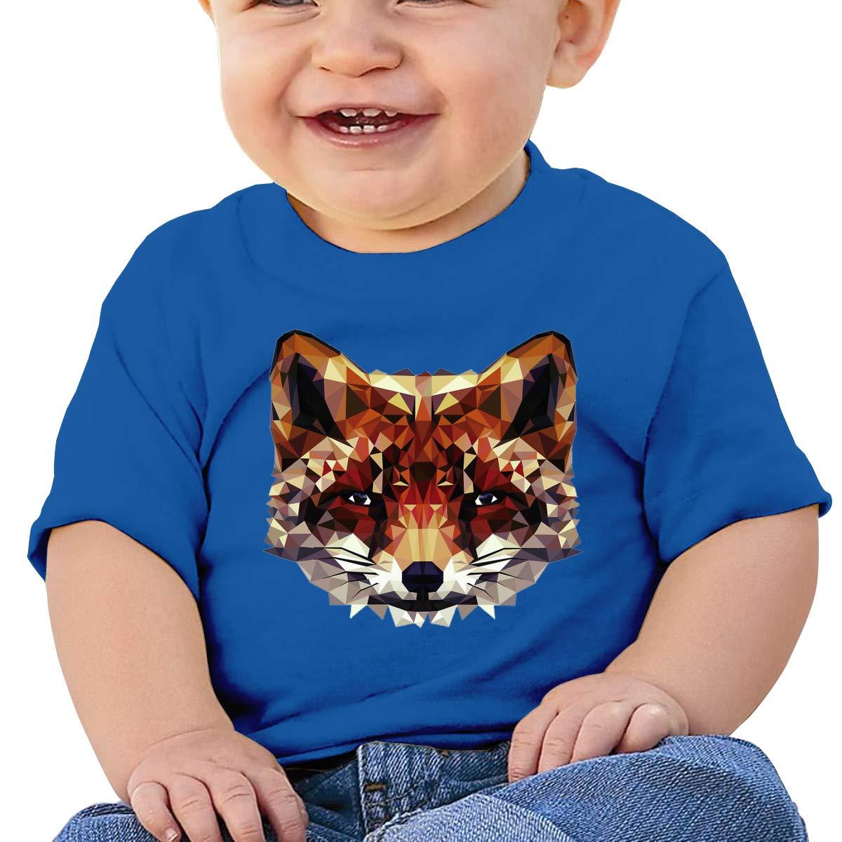 XHX403 Geometric Low Poly Fox Infant Kids T Shirt Cotton Tee Toddler Baby 6-18M