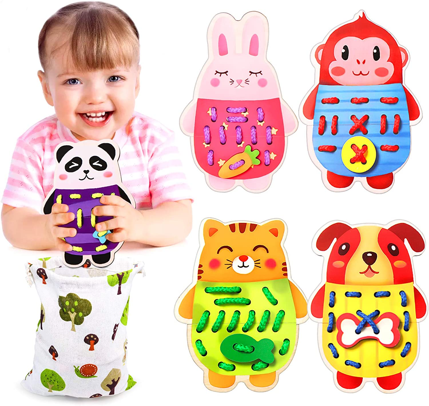 5 Set Wooden Lacing Threading Toy Learn Fine Motor Skills Toy Board Game Animal Car?Educational Gift for Toddlers Baby Kids