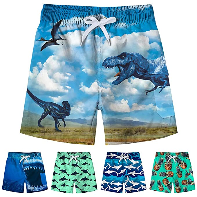 ab43a7653e Freshhoodies Little Boys Swim Trunks 3D Graphic Beach Board Shorts Tropical  Hawaiian Holiday Swim Suit (